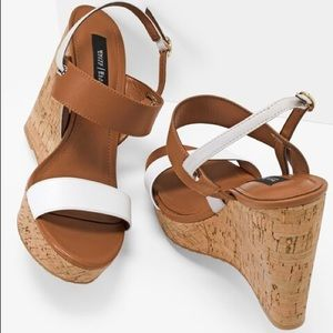 New WHBM white and brown were sandals
